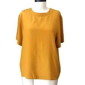 100% Silk Mustard Yellow Vintage Short Sleeve Tee